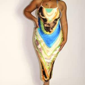 midi snake print dress